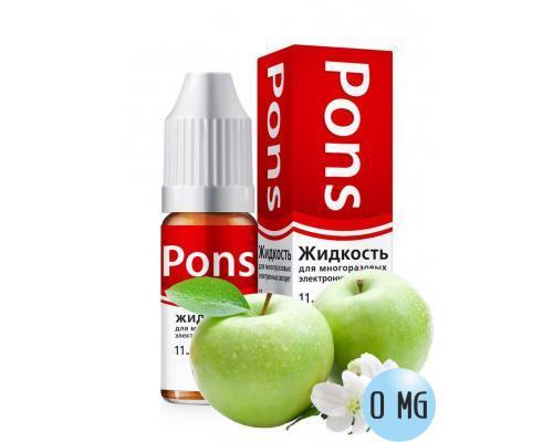 Жидкость для эл. сигарет PONS 0 мг. зеленое яблоко 10 мл.