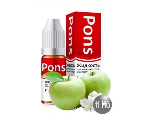 Жидкость для эл. сигарет PONS 11 мг. зеленое яблоко 10 мл.
