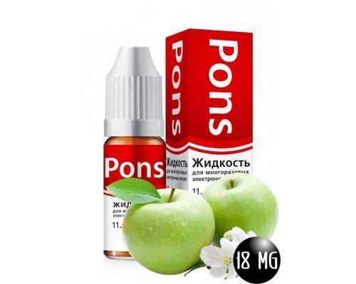 Жидкость для эл. сигарет PONS 18 мг. зеленое яблоко 10 мл.