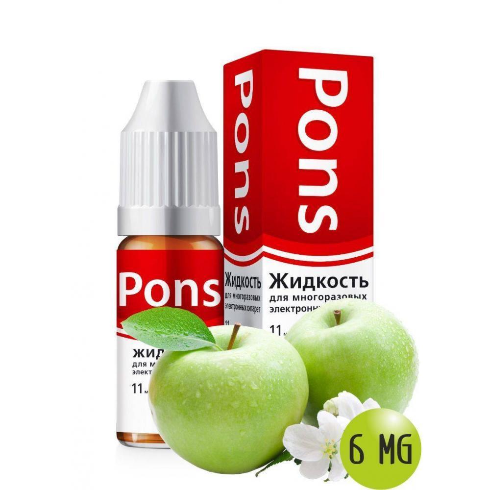 Жидкость для эл. сигарет PONS 6 мг. зеленое яблоко 10 мл.